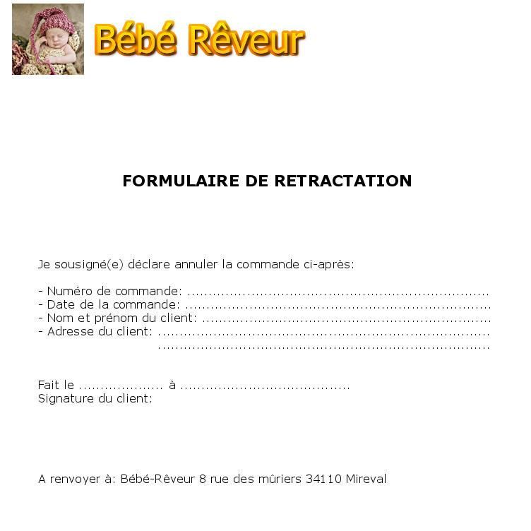 formulaire de rétractation